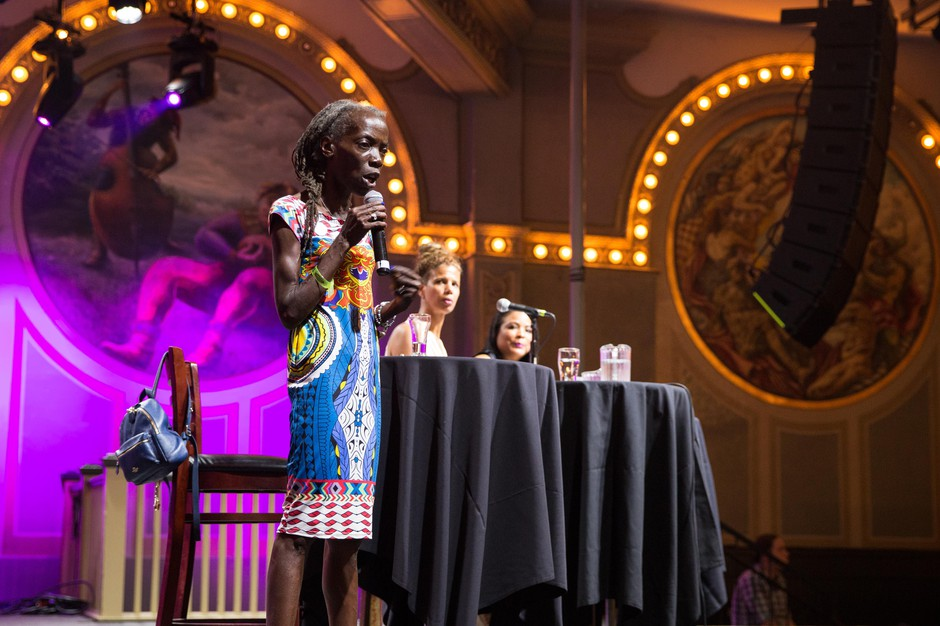 Portland City Council candidates Jo Ann Hardesty and Loretta Smith participate in a community forum at Crystal Ballroom in Portland, Oregon, Tuesday, Aug. 14, 2018.