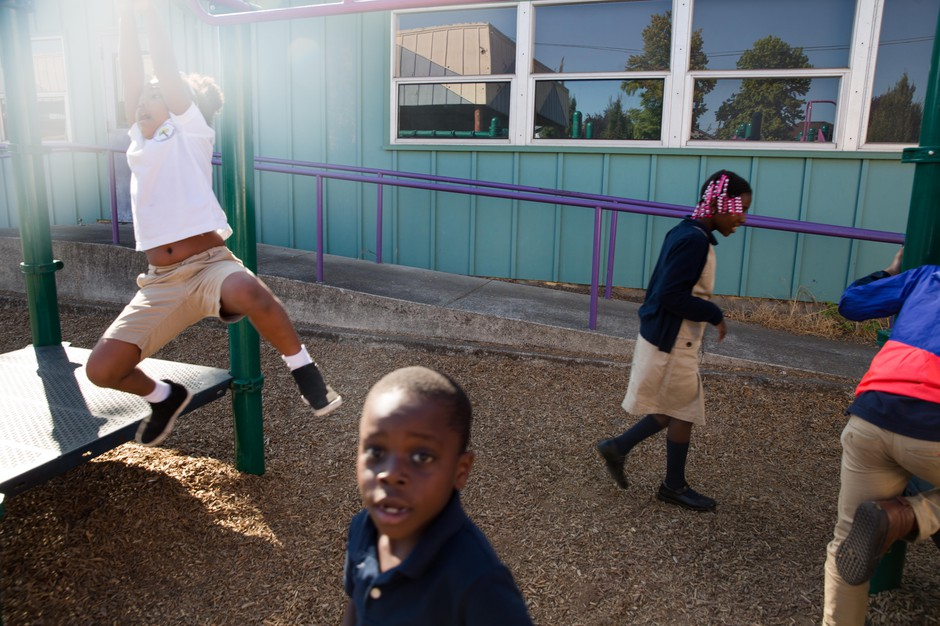 Children play during recess at Kairos PDX, a Portland charter school trying an alternative approach to help students of color.
