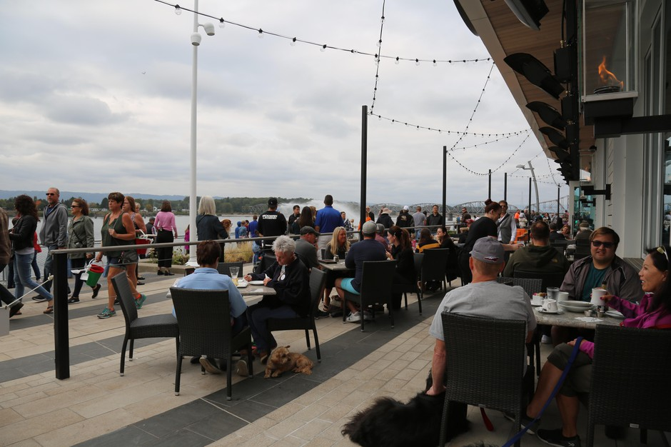 The two riverfront restaurants were open and already bustling with customers.