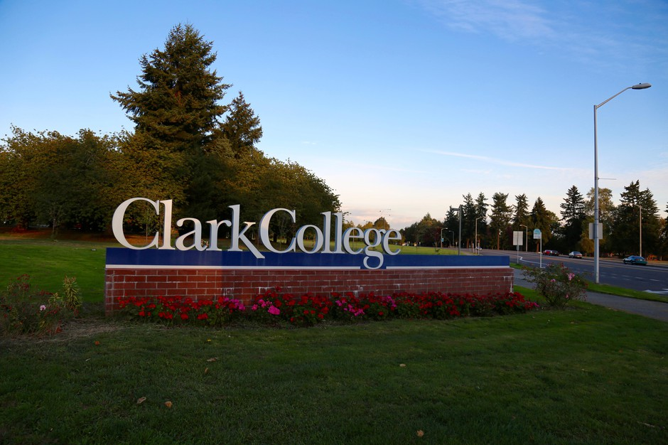 A sign marks the Clark College campus in Vancouver, Washington.