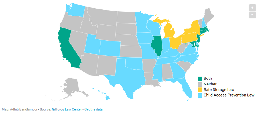 A breakdown of safe storage gun laws across the United States.