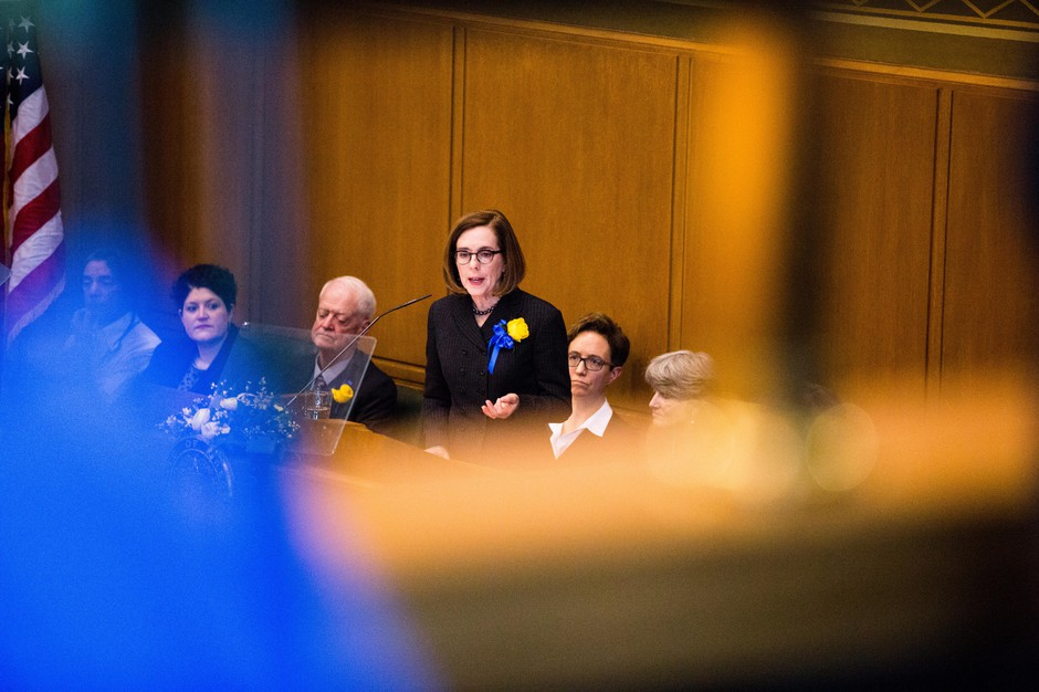 Oregon Gov. Kate Brown delivers her inaugural address in the state House of Representatives on Monday, Jan. 14, 2019.