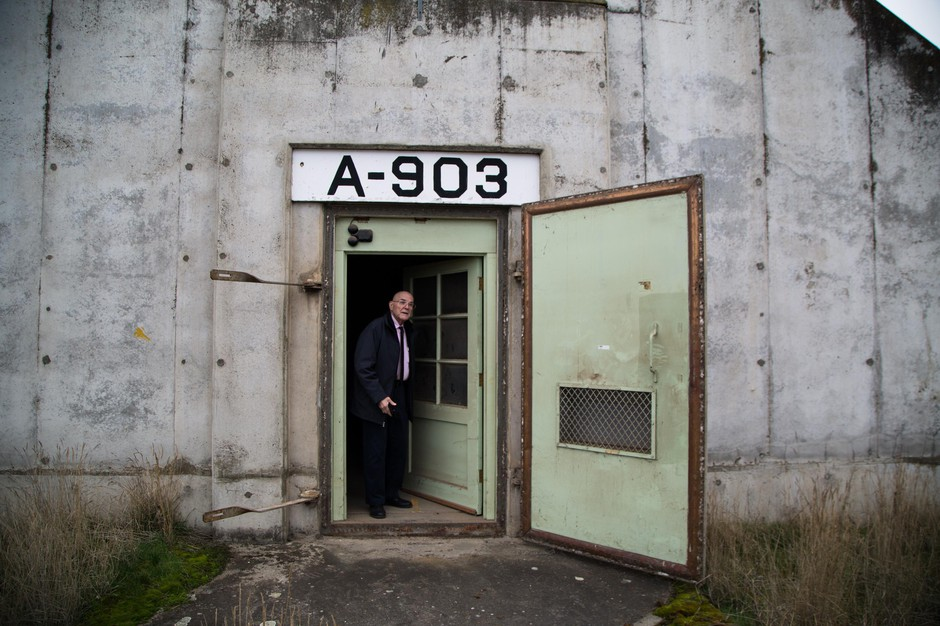 Umatilla County Commissioner Bill Elfering exits a bunker at the Umatilla Chemical Weapons Depot in Umatilla County, Ore., on Wednesday, Jan. 30, 2019. The depot and the land it's on will soon be turned over to local control after being operated by the U.S. military for more than 50 years.