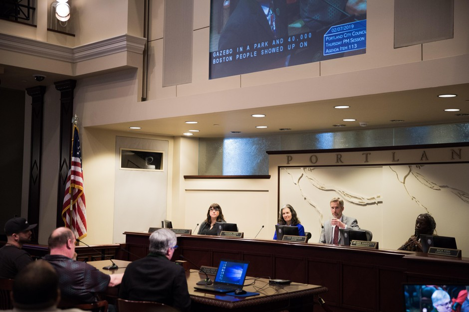 The Portland City Council hearingon Thursday, Feb. 8, 2019, that resulted in the passing of a resolution condemning white supremacists and alt-right hate groups.