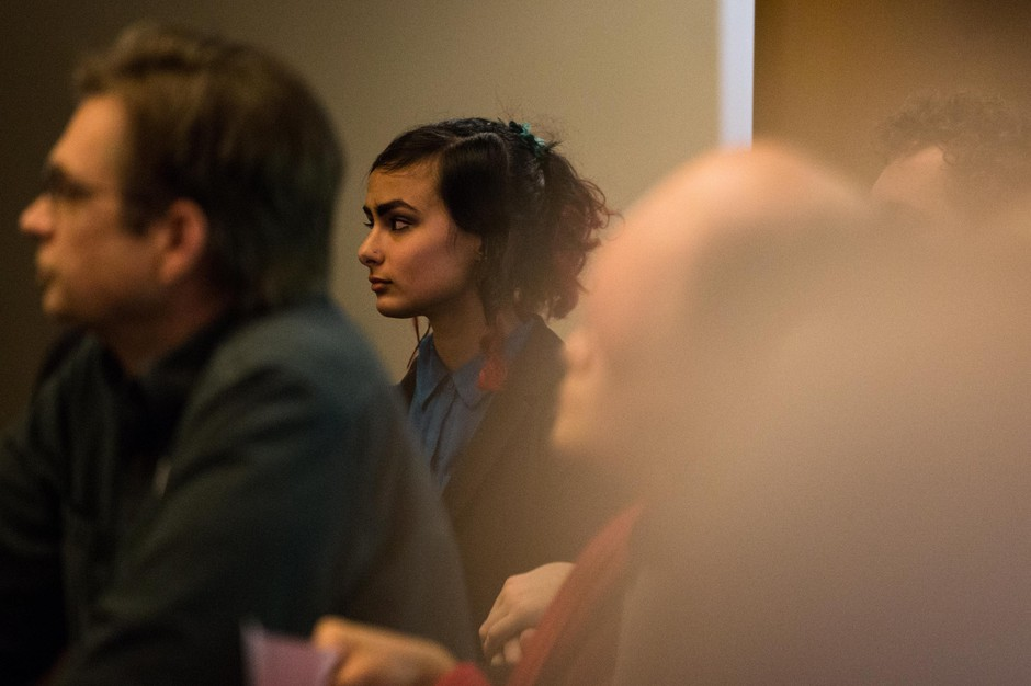 Millie Hobaish listens to testimony on the FBI-led Joint Terrorism Task Force at Portland City Council on Wednesday, Feb. 13, 2019 in Portland, Ore. The council voted to withdraw the city from the JTTF.