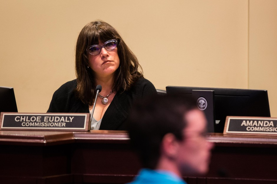 Commissioner Chloe Eudaly listens to testimony at City Hall in Portland, Ore., Wednesday, Feb. 13, 2019.