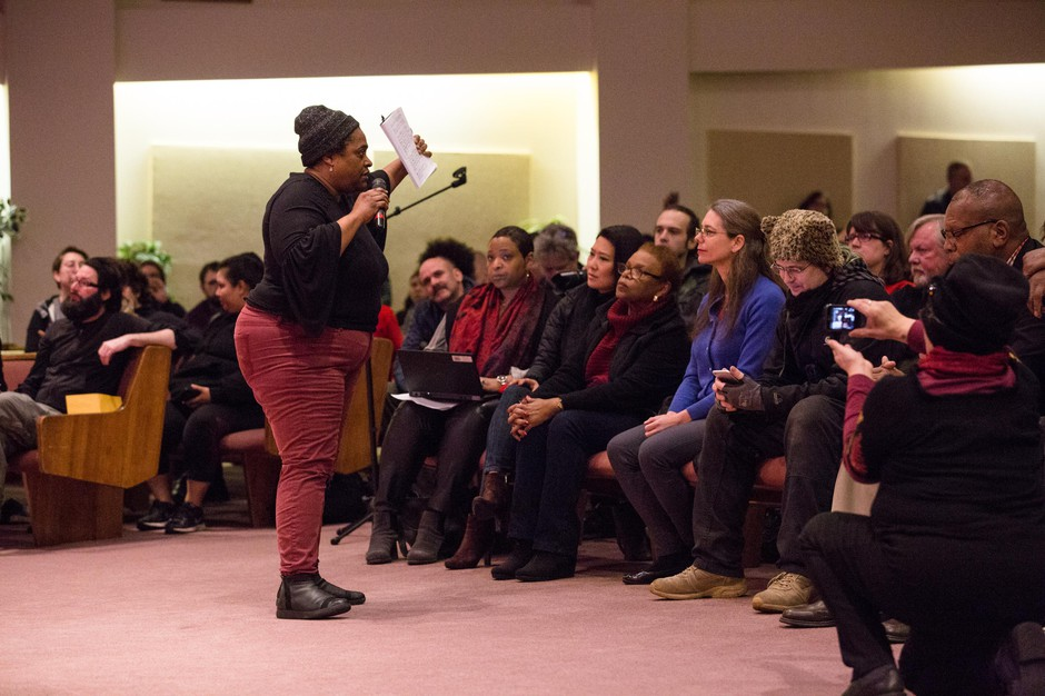 Northeast Portland resident Debra Wilson speaks during a community listening session at Maranatha Church in Portland, Ore., Thursday, Feb. 21, 2019. City leaders called the meeting to hear community concerns over a police lieutenant's text messages with Patriot Prayer leader Joey Gibson.