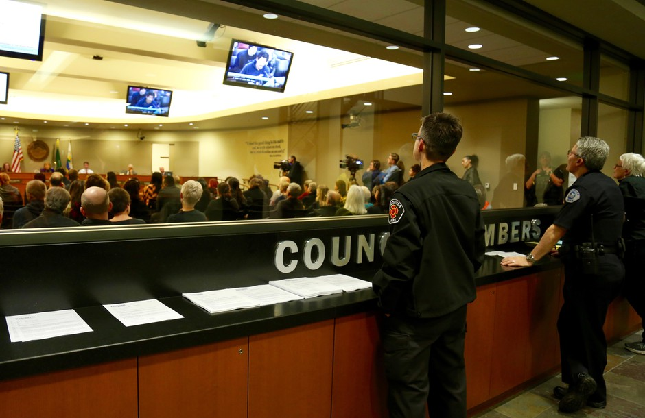 People fill City Council chambers in Vancouver, Wash., Monday, March 25, 2019, to address an uptick in police shootings in the city. Vancouver police shot four people, three fatally, in the span of five weeks in February and March.