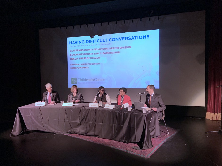 Bob Stewart, Kristan Collins, Desiree Bansile, Sonia Manzano, and Dave Miller talk about how to have difficult conversations with children at Lakewood Center for the Arts.