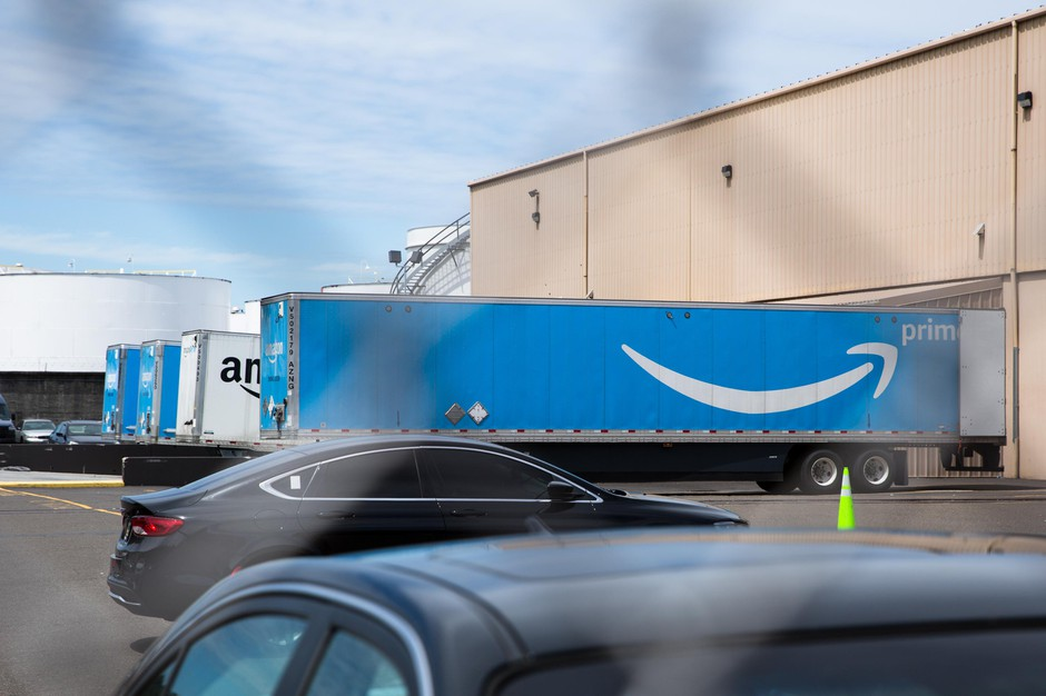Trucks Are Sitting at the docks on the Amazon delivery station in northwest Portland, Ore., Friday, July 12, 2019.
