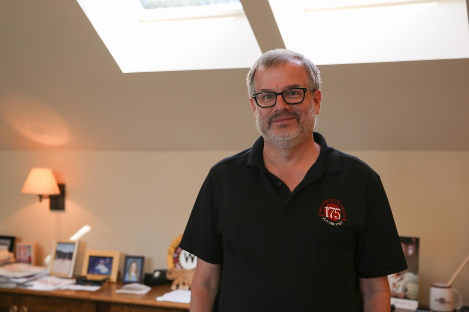 Willamette University president Steve Thorsett in his Waller Hall office in Salem, Ore., Wednesday, Aug. 8, 2019. Enrollment at the small private school last year was at its lowest point in more than a decade.