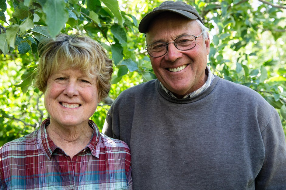 Sydney, left, and Richard Blaine at Avalon Orchards in Sundale, Wash., Monday, Oct. 7, 2019. The Blaines have run Avalon since 1974. They hope to reorganize and continue farming after filing for Chapter 12 bankruptcy protections due to a variety of financial challenges, including tariffs.