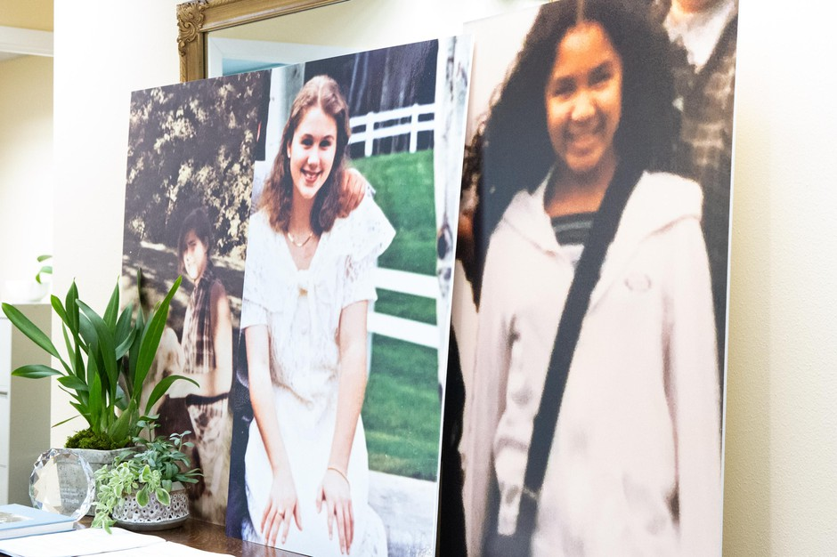 Images of three former Catlin Gabel students are displayed at a press conference in Portland, Ore., Tuesday, Feb. 4, 2020. The students added to the mounting allegations against current and former school officials.