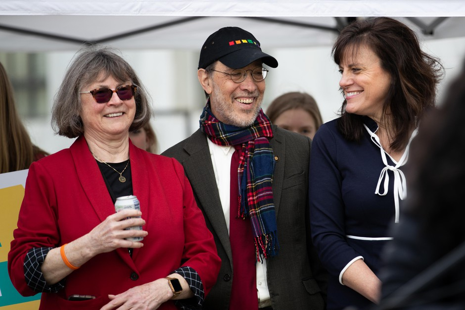 Oregon Sens. Michael Dembrow (center), D-Portland, Kathleen Taylor (right), D-Milwaukie, and Senate Majority Leader Ginny Burdick, D-Portland, attend the climate rally at the Capitol in Salem, Feb. 11, 2020.