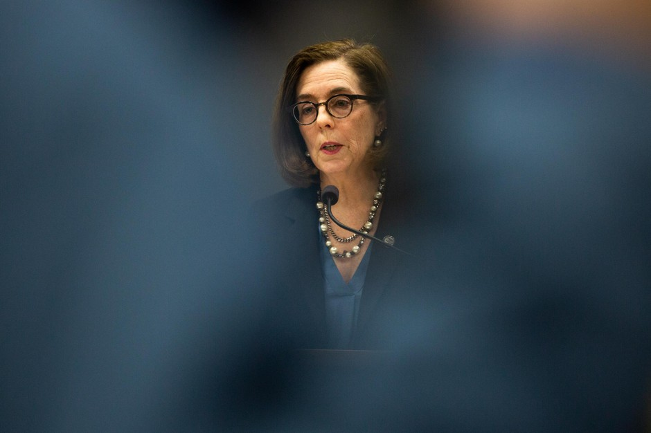 Oregon Gov. Kate Brown speaks at a press conference in Portland, Ore., Friday, March 20, 2020. Brown put in a request to the federal government for more PPE, but had only received 25% of it as of Wednesday.