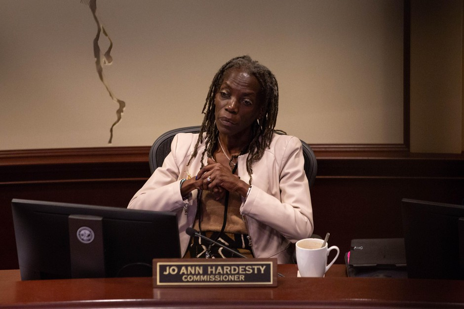Portland City Commissioner Jo Ann Hardesty listens to testimony over a proposed ordinance on April 4, 2019.