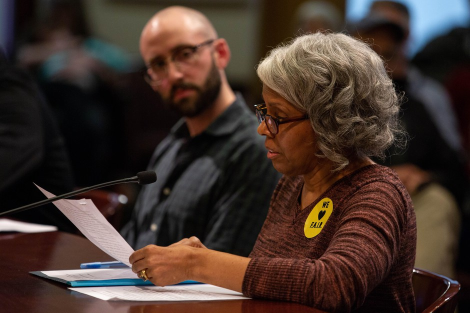 Portland resident Marih Alyn-Claire reads testimony during a Portland City Council hearing on April 4, 2019. Alyn-Claire is part of Tenants Priced Out, an advocacy group for tenants facing displacement.