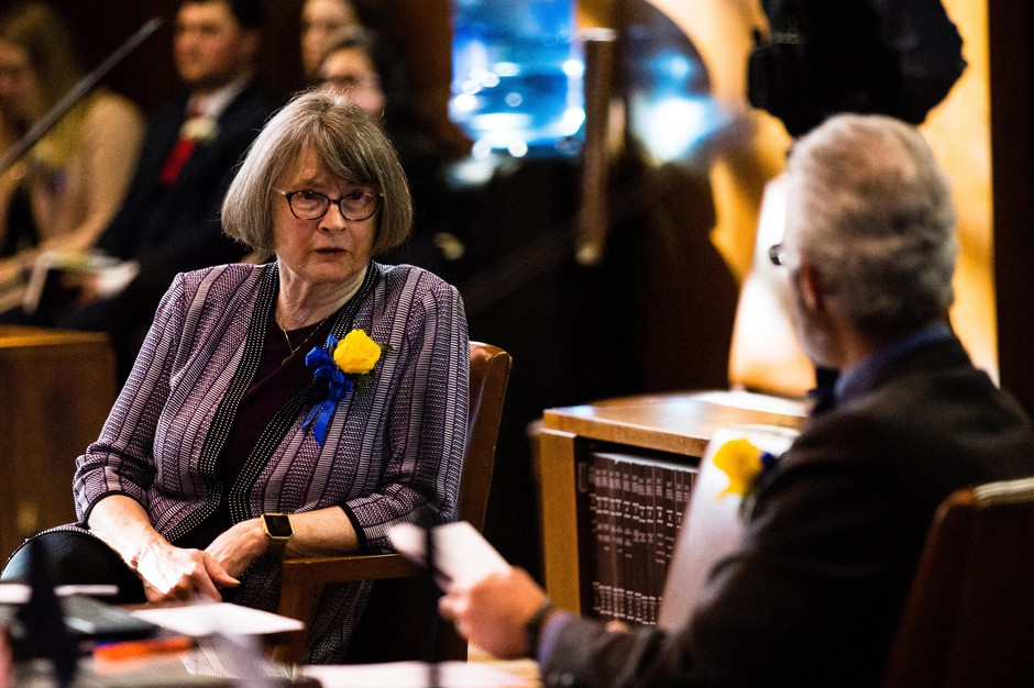 State Sen. Ginny Burdick, D-Portland, in the Oregon Senate on Monday, Jan. 14, 2019, in Salem, Ore.