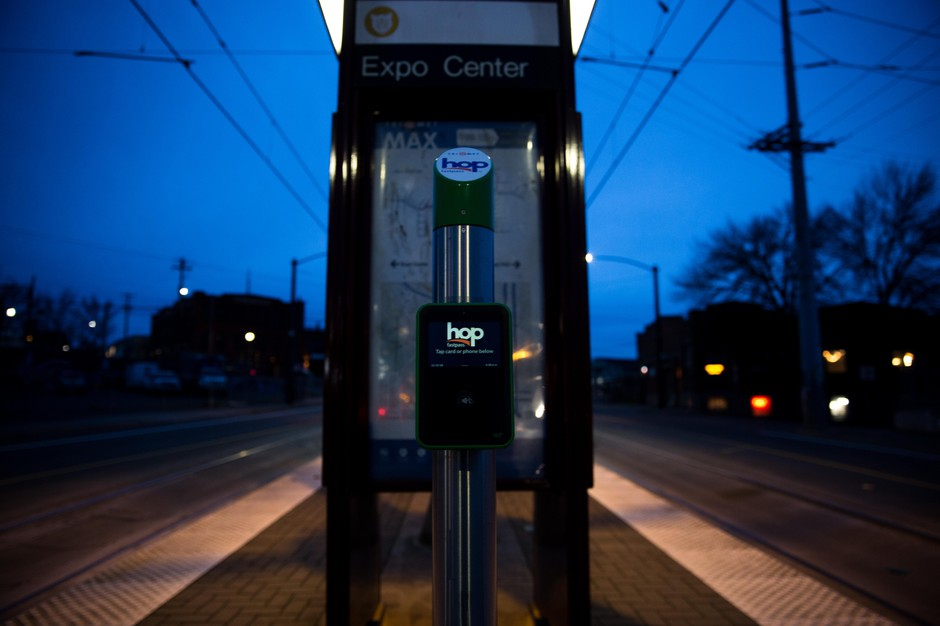 A Hop Fastpass reader at the Albina-Mississippi TriMet stop in Portland, Ore., Saturday, Dec. 15, 2018.