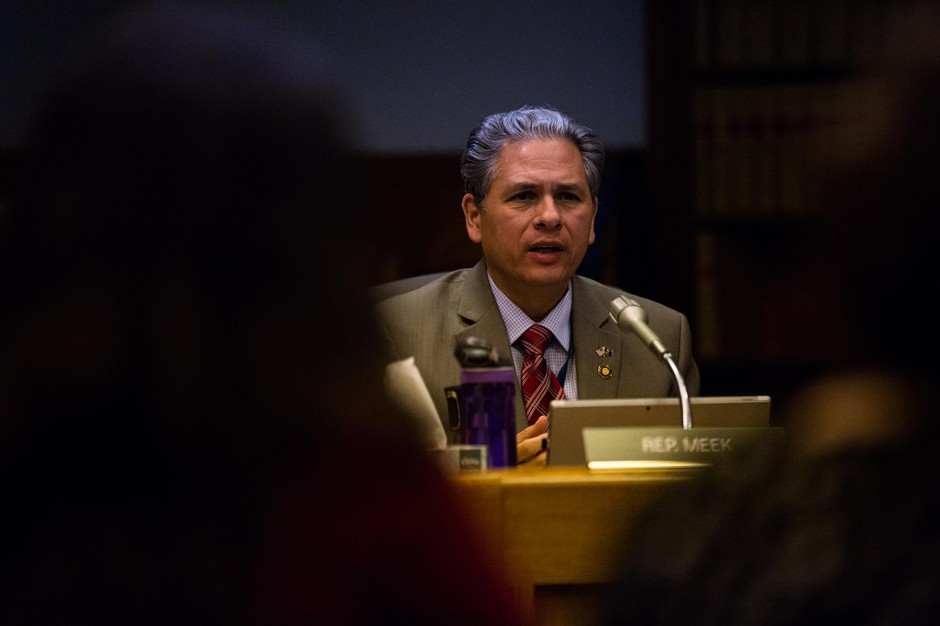 Rep. Mark Meek, D-Clackamas County, a member of the House Committee on Human Services and Housing, is pictured at the Oregon Capitol, Wednesday, Feb. 20, 2019.