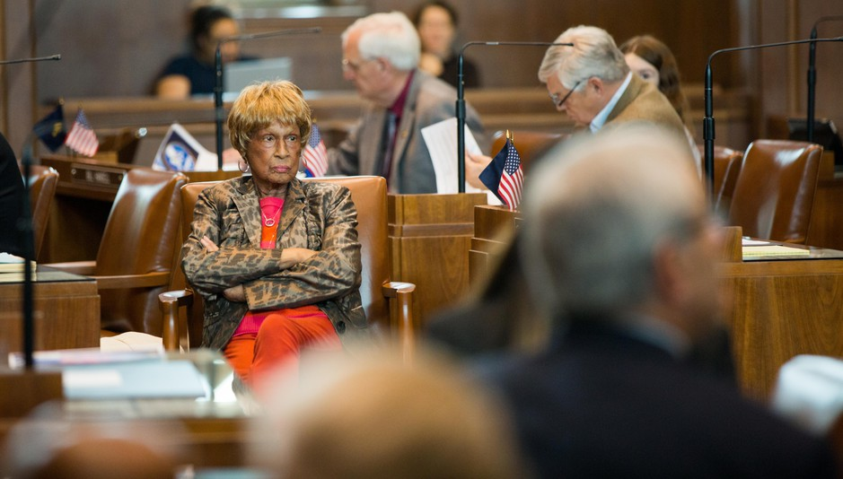 Republican Oregon state Sen. Jackie Winters listens as her fellow senators speak in the Oregon Senate chambers at the Oregon Capitol in Salem, Ore., Tuesday, April 2, 2019.