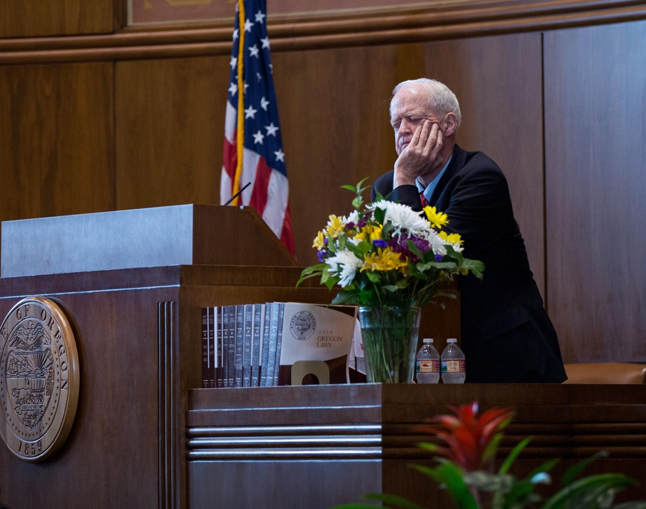 Democratic Oregon Senate President Peter Courtney watches from the dais in the Senate chambers at the Oregon Capitol in Salem, Ore., Tuesday, April 2, 2019.