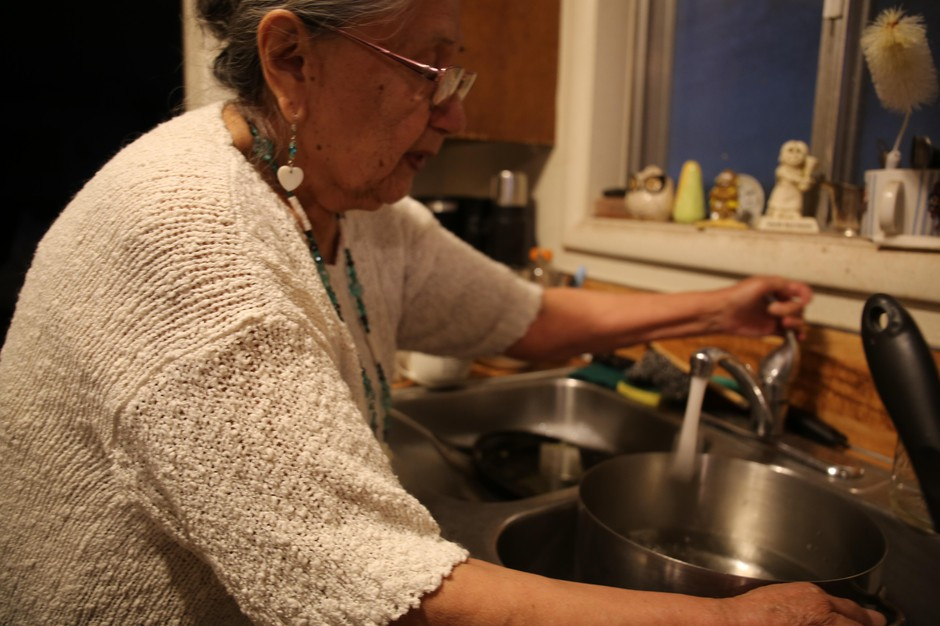 Arlita Rhoan prepares to boil her tap water in Warm Springs on March 28, 2019. The reservation has issued more than a dozen boil notices in the last year alone.