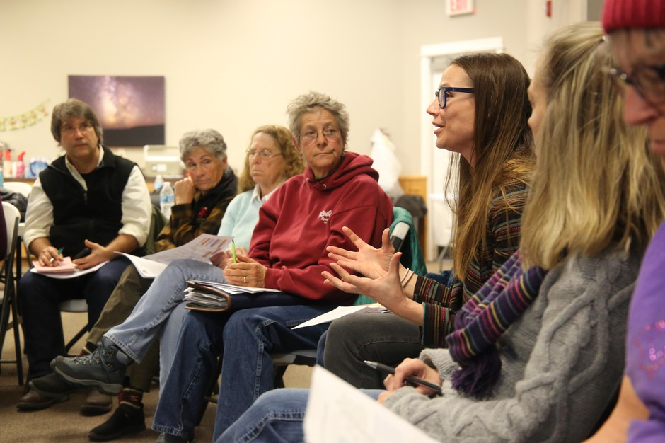 Oregon Water Resources Department Planner Harmony Burright speaks to Harney County residents at a collaborative meeting, Dec. 12, 2019.