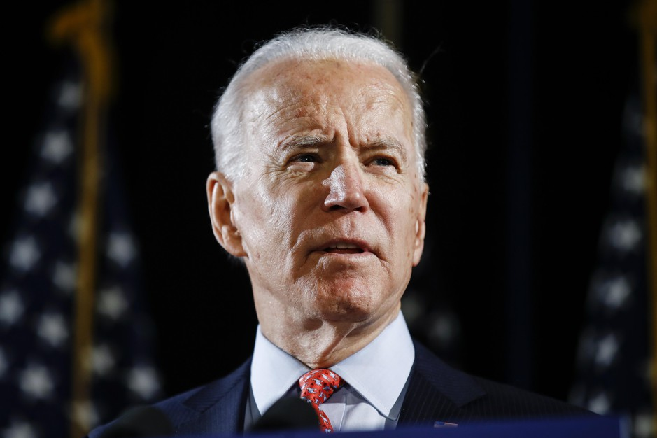 In this March 12, 2020, file photo, Democratic presidential candidate former Vice President Joe Biden speaks in Wilmington, Del.