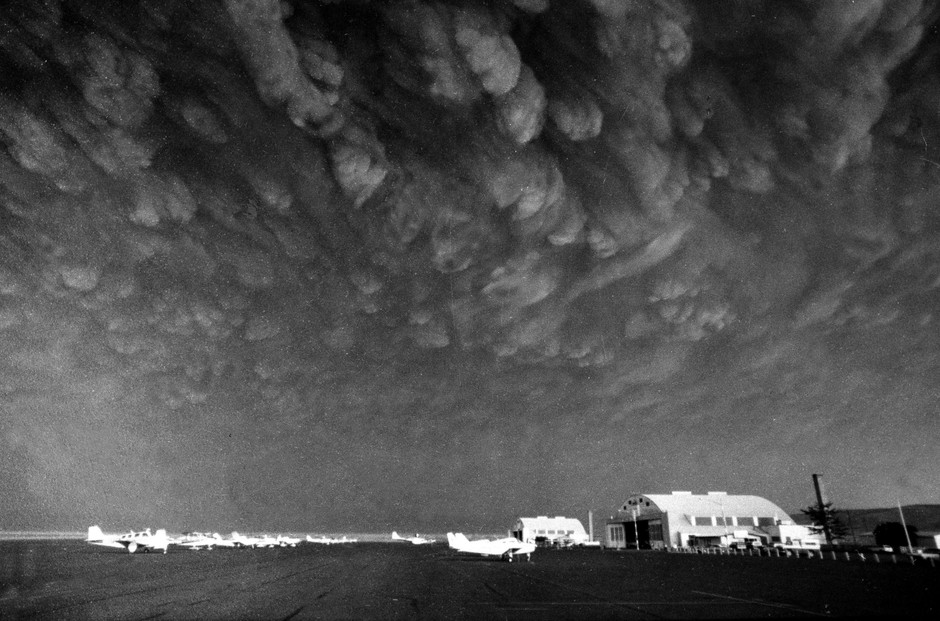 Ashen clouds from the Mount St. Helens volcano move over Ephrata airport in Washington on Monday, May 19, 1980 days after the volcanic eruption.