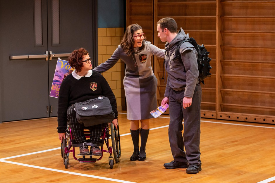 """Tess Raunig (left) as Buck, *Alex Ramirez de Cruz (center) as Clarissa, and Christopher Imbrosiano (right) as Richard in Artist Repertory Theatre's 2019 production of Mike Lew's """"Teenage Dick""""."""