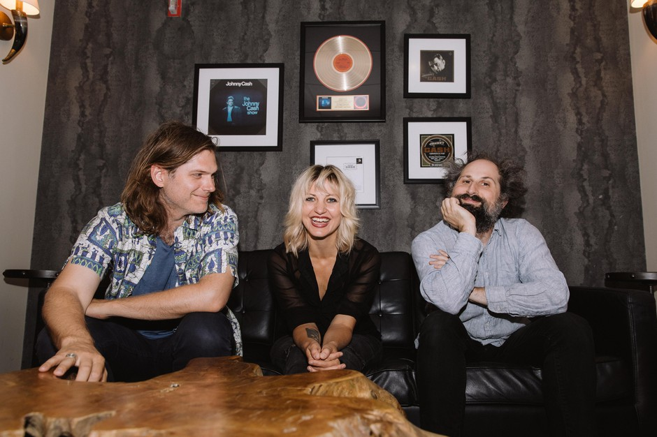 Eric D. Johnson, Anaïs Mitchell, and Josh Kaufman of Bonny Light Horseman