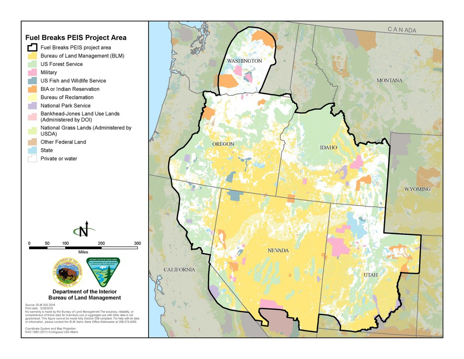 A map of the project area where up to 11,000 miles of fuel breaks may be implemented.