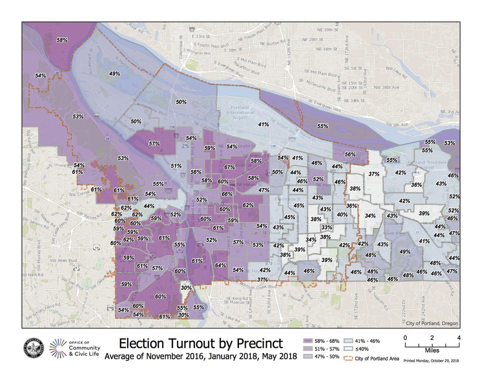 Citywide voter turnout by precinct in Portland, Oregon.