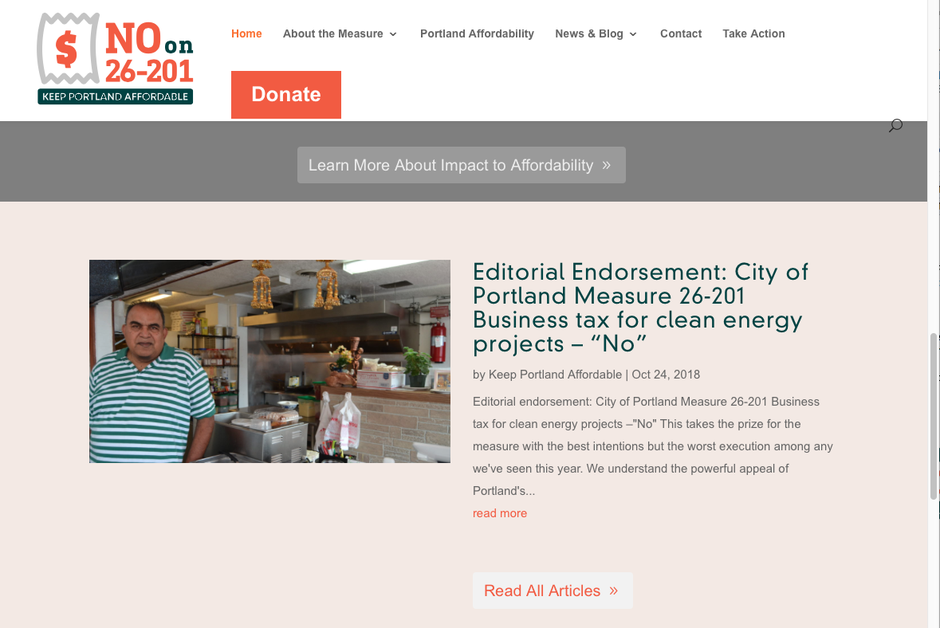 A screenshot of Hari Lal, owner of Spice Kitchen, on the Keep Portland Affordable PAC website.