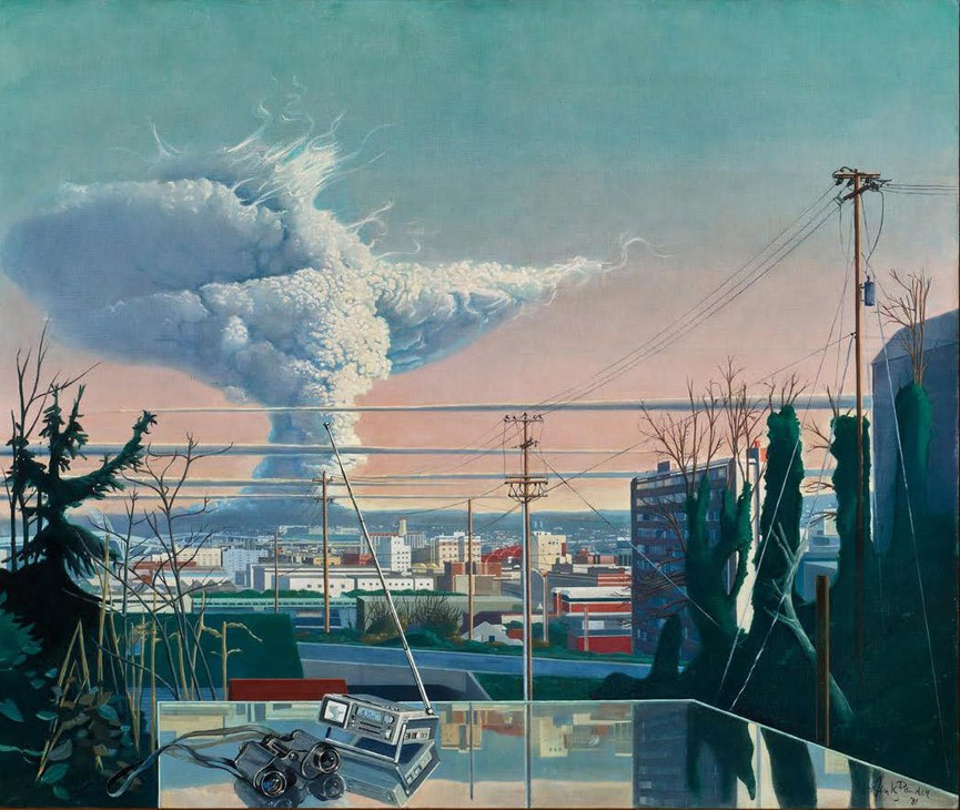 A painting of the Mt. St. Helens eruption by Henk Pander. On display at the Portland Art Museum as a part of their exhibit on Mt. St. Helens.
