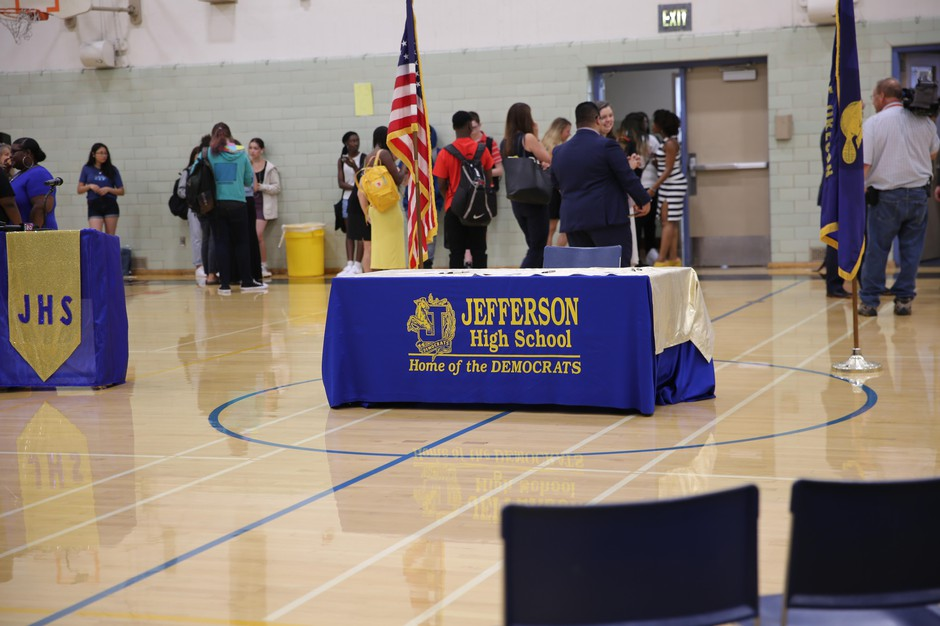 A banner at Jefferson High School on the first day of school on Aug. 28, 2019.