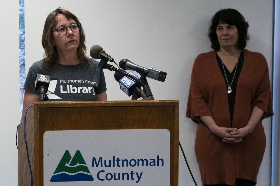 Multnomah County library director Vailey Oehlke speaks at a press conference announcing the library's closure to prevent the spread of coronavirus on March 13, 2019, in Portland, Oregon.