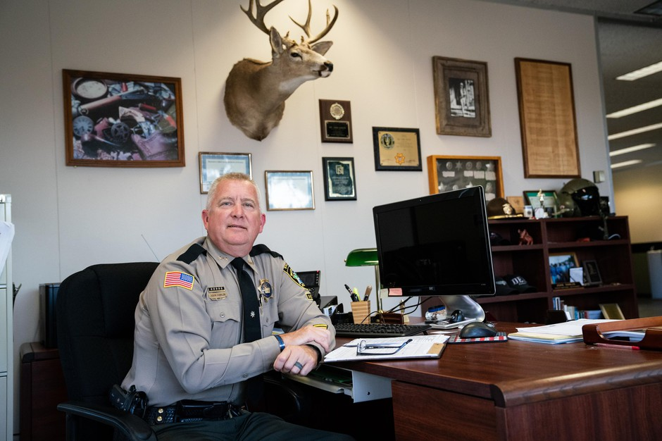 Douglas County Sheriff John Hanlin sits for a portrait in his office on Oct. 22, 2018 in Roseburg, Ore.