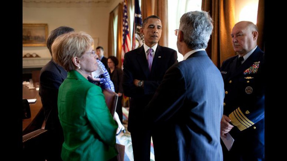 Dr. Jane Lubchenco in her role as NOAA chief confers with President Barack Obama, Science Advisor Dr. John Holdren and Coast Guard Commandant Thad Allen about the PB Deepwater Horizon disaster, 2010.