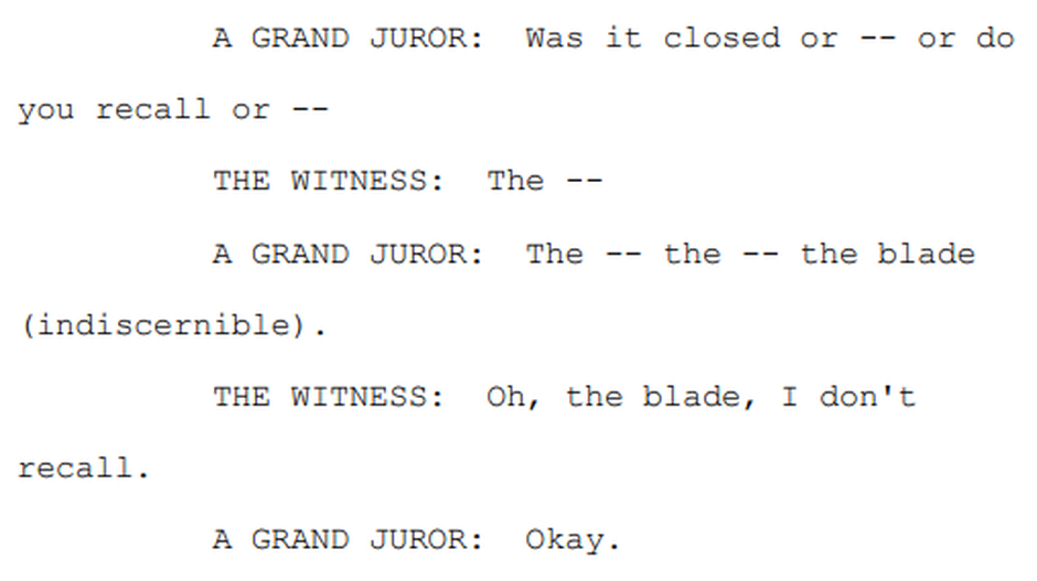 A transcript of the exchange about Lane Martin's folding knife between a grand juror and Portland Police Officer Gary Doran.