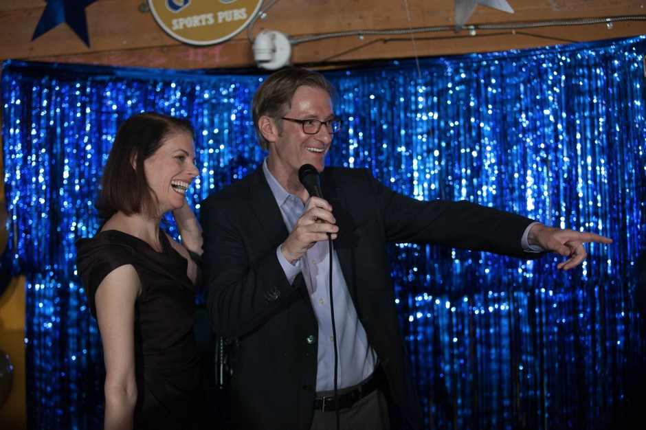 Ted Wheeler celebrates his victory in the race to become Portland mayor at Blitz Ladd, a sports pub in Southeast Portland, on May 17, 2016.