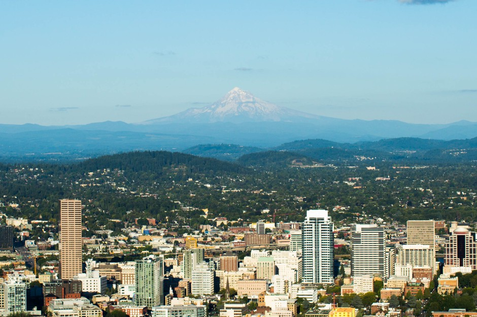 Pittock Mansion is a short walk off the Wildwood Trail's second leg and provides a tremendous view of Portland and Mount Hood.