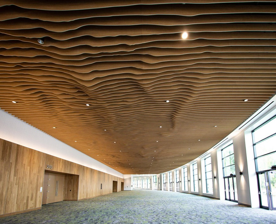 The newly renovated ceiling at the Oregon Convention Center doubles asa topographical map of the Cascade mountain range.