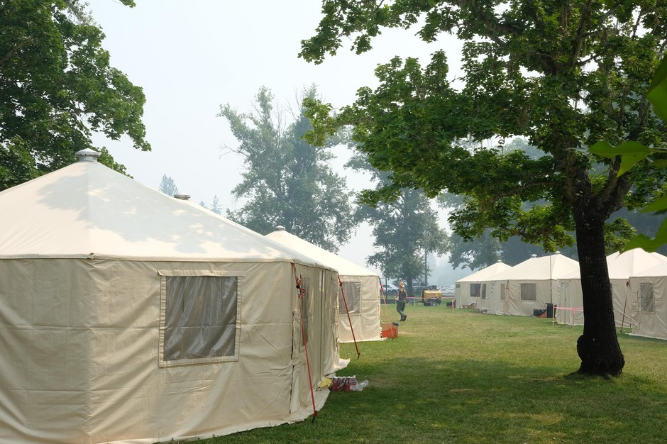 For every major fire, a small city must be set up to support the firefighting effort. Air-conditioned yurts house the command team setting up a communications network, medical facilities, weather forecasting, finance, etc.
