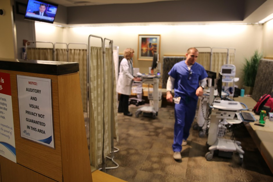 Emergency room staff use the waiting room to see patients and shrink wait times at St. Charles hospital in Bend, March 19, 2019.