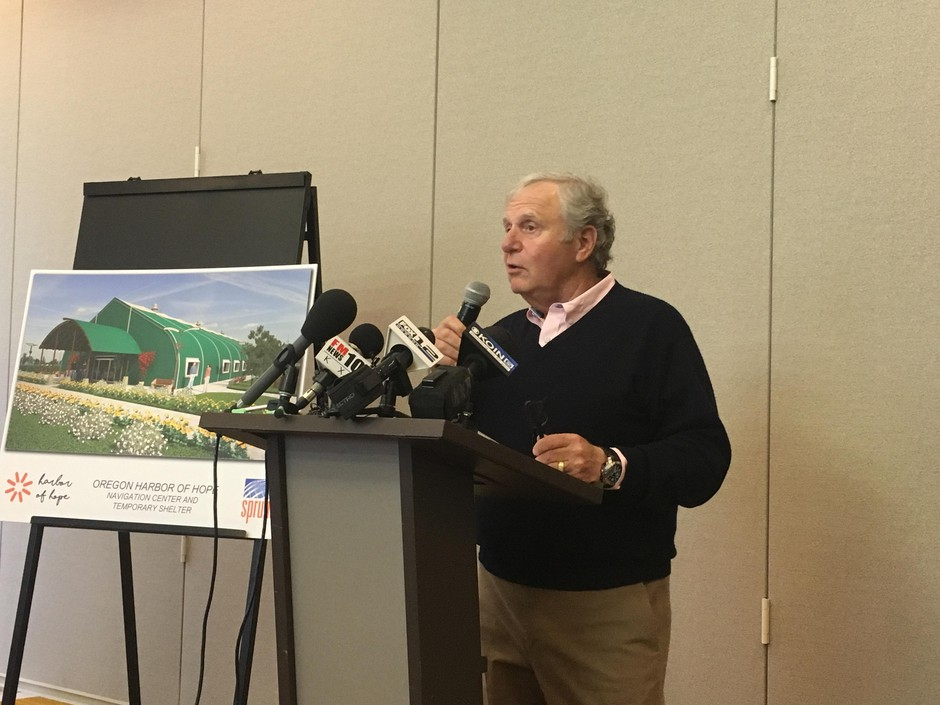 Columbia Sportswear CEO Tim Boyle at a press briefing on Tuesday, April 10, 2018 announcing plans by Harbor of Hope to develop a new homeless shelter innorthwest Portland.
