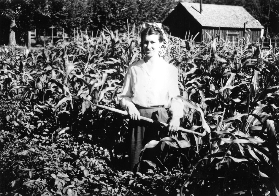 """A woman working in a """"Victory Garden"""" in Lake County, Ore., in 1944."""