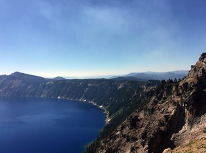 Views of the caldera are unobstructed by the nearby Bybee Creek wildfire.